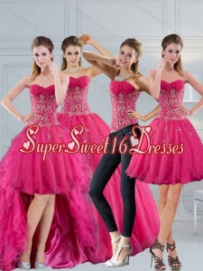 Detachable 2015 Hot Pink Sweetheart Quinceanera Dress with Appliques and Beading