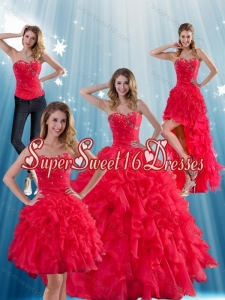 Detachable 2015 Red Strapless Quinceanera Dress with Ruffles and Beading