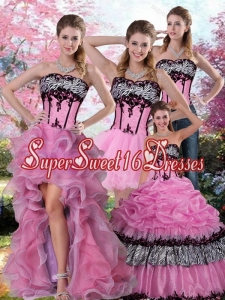 Detachable Zebra Printed Multi Color Quinceanera Dress with Pick Ups and Appliques