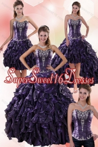 Detachable 2015 Sweetheart Ball Gown Purple Quince Dresses with Embroidery