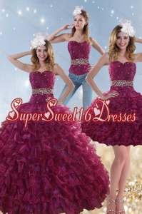 Detachable Burgundy Sweet 15 Dresses with Beading and Ruffles for 2015