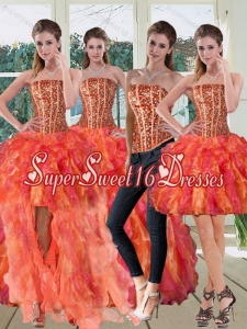 Detachable Strapless Multi Color Dress for Quinceanera with Beading and Ruffles