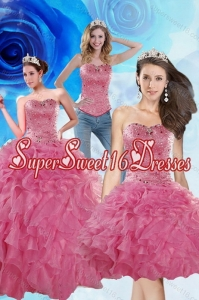 2015 Detachable Coral Red Sweet 16 Dresses with Beading and Ruffles