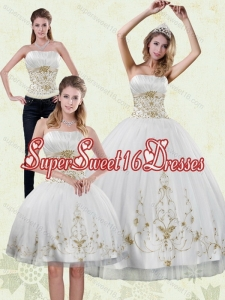 Detachable 2015 Strapless Appliques White and Gold Quinceanera Dresses