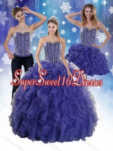 Detachable Beading and Ruffles Quince Dresses in Royal Bule for 2015