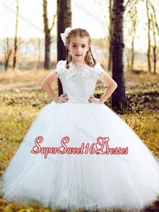 Fashionable Scoop Really Puffy Flower Beautiful Girls Pageant Dress with Hand Made Flowers and Appliques