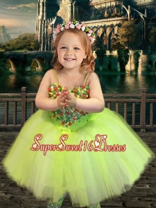 Most Popular Yellow Green Spaghetti Straps Beautiful Girls Pageant Dress with Beading