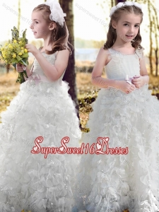 New Arrivals Ruffled and Bowknot White Flower Beautiful Girls Pageant Dress with Straps