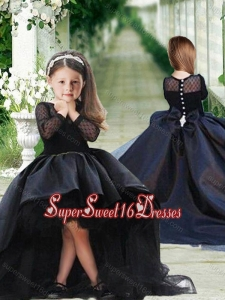 Romantic See Through Long Sleeves Beautiful Girls Pageant Dress in Navy Blue