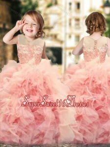 Wonderful Ruffled and Laced Beautiful Girls Pageant Dress with See Through Scoop