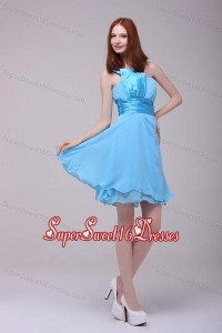 Baby Blue One Shoulder Ruching Dama Dresses with Chiffon