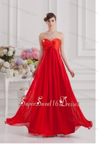 Red Empire Chiffon Beaded Decorate Dresses for Dama with Sweetheart