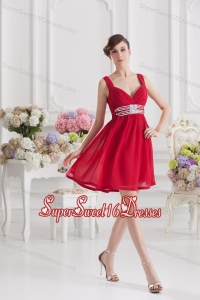 Red Empire Straps Dama Dresses with Ribbons and Beading