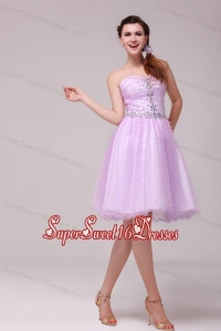 A-line Lavender Sweetheart Beading Dresses for Dama for Summer