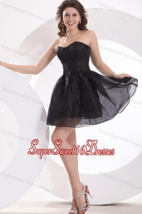 A-line Strapless Black Organza Knee-length Dama Dress for Quinceanera