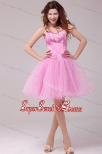 Princess Rose Pink Sweetheart Appliques Short Dresses for Dama