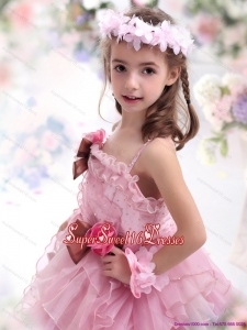 2015 Beautiful Baby Pink Little Girl Pageant Dress with Hand Made Flowers and Ruffles