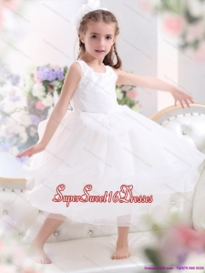 Beautiful Scoop White Bownot A Line Little Girl Pageant Dresses for 2015