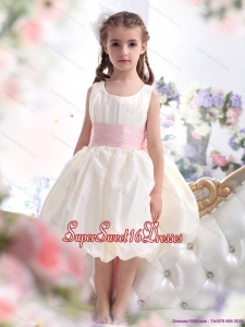 Beautiful White Scoop 2015 Little Girl Pageant Dress with Light Pink Sash