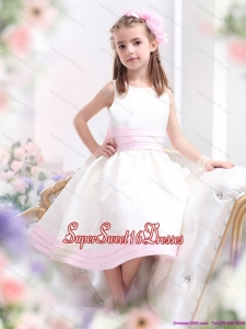 Beautiful White Scoop Little Girl Pageant Dress with Light Pink Bownot