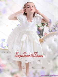 White Scoop 2015 Beautiful Little Girl Pageant Dress with Bownot and Cap Sleeves