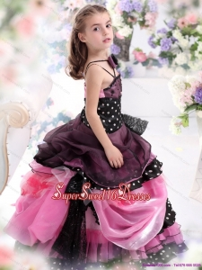 Beautiful Multi Color Ruffled 2015 Beautiful Little Girl Pageant Dress with Bownot and Hand Made Flower