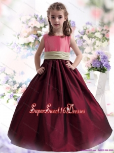 Beautiful Multi Color Ruffled 2015 Little Girl Pageant Dress with Sash