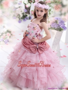 Beautiful Rose Pink Little Girl Pageant Dress with Hand Made Flowers and Ruffled Layers