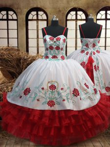 Dramatic Ruffled Ball Gowns Little Girls Pageant Dress Wholesale White and Red Spaghetti Straps Organza Sleeveless Floor Length Lace Up