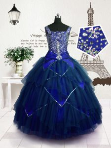 Royal Blue Straps Neckline Beading and Belt Kids Pageant Dress Sleeveless Lace Up