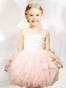 Baby Pink Scoop Zipper Appliques and Ruffles Little Girl Pageant Dress Sleeveless