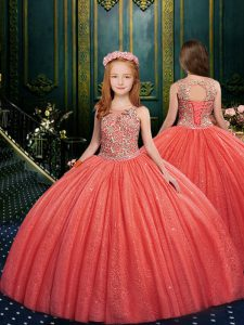 Fashionable Watermelon Red Little Girls Pageant Dress Quinceanera and Wedding Party with Appliques Scoop Sleeveless Lace Up