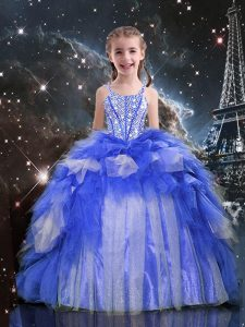Beauteous Blue Organza Lace Up Spaghetti Straps Sleeveless Floor Length Kids Pageant Dress Beading and Ruffles