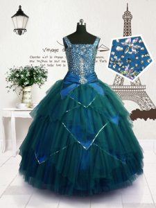 Modern Sleeveless Beading and Belt Lace Up Kids Formal Wear