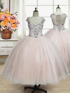 Low Price Pink Zipper Straps Beading Pageant Gowns For Girls Tulle Cap Sleeves