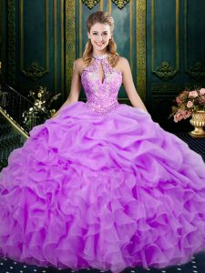 Chic Sleeveless Beading and Ruffles and Pick Ups Lace Up Vestidos de Quinceanera