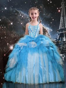 Trendy Sleeveless Floor Length Beading and Ruffles Lace Up Kids Pageant Dress with Baby Blue