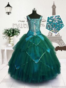 Most Popular Tulle Sleeveless Floor Length Child Pageant Dress and Beading and Belt
