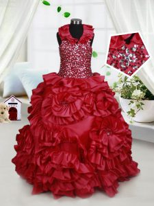 Beauteous Halter Top Sleeveless Beading and Ruffles and Sequins Zipper Little Girl Pageant Gowns