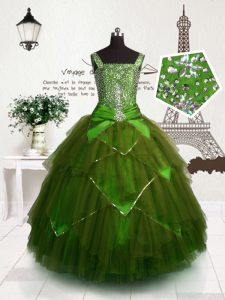 Straps Sleeveless Tulle Kids Formal Wear Beading and Belt Lace Up