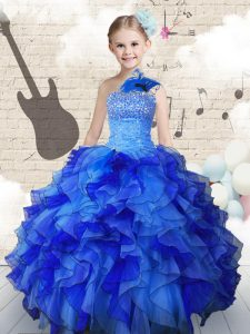 Navy Blue Sleeveless Organza Lace Up Girls Pageant Dresses for Party and Wedding Party