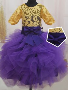 Scoop Mini Length Eggplant Purple and Gold Kids Pageant Dress Tulle Short Sleeves Lace and Ruffles and Bowknot