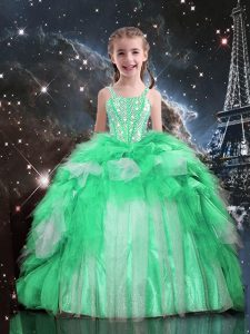 Best Apple Green Spaghetti Straps Neckline Beading and Ruffles Kids Formal Wear Sleeveless Lace Up