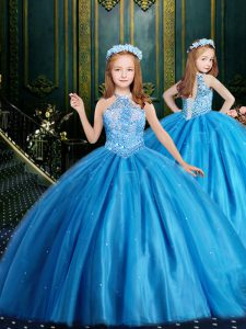 Baby Blue Ball Gowns Halter Top Sleeveless Tulle Floor Length Lace Up Beading and Sequins Girls Pageant Dresses