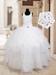 Trendy Halter Top Sleeveless Floor Length Beading and Ruffled Layers Lace Up Little Girls Pageant Dress Wholesale with White