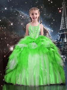 Organza Lace Up Little Girls Pageant Gowns Sleeveless Floor Length Beading and Ruffles