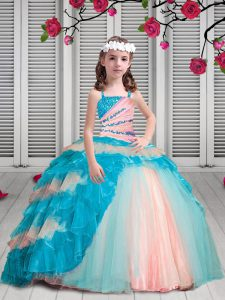 Organza Spaghetti Straps Sleeveless Lace Up Beading and Ruffles Kids Pageant Dress in Multi-color
