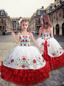 Straps Sleeveless Lace Up Floor Length Embroidery and Ruffles Little Girls Pageant Gowns