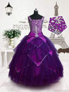 Floor Length Purple Little Girl Pageant Dress Straps Sleeveless Lace Up