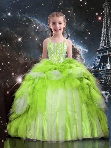 Apple Green Sleeveless Floor Length Beading and Ruffled Layers Lace Up Girls Pageant Dresses